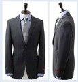 Frete grátis Italiana de alta qualidade de lã 100% pura Lã terno Formal Dos Homens terno de Negócio de dois botões Terno cinza escuro