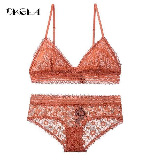 abdc68448b New Brand Comfortable Seamless Bra Set Transparent Orange Triangle Cup Bras  Sexy Underwear Women Set Black Lace Lingerie