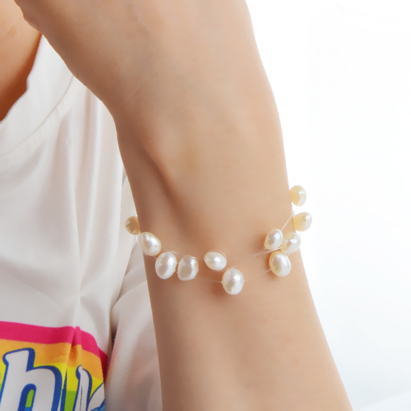 ASHIQI Real Natural Freshwater Pearl Bracelets With 3 Row Transparent Fishing Line Invisible Chain Bracelet Women Gift