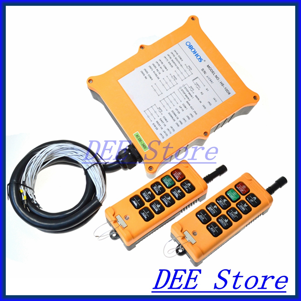 8 channel 2 Speed 2 Transmitters Hoist Crane Truck Radio Remote Control Push Button Switch System Controller free shipping 6 channel 1 speed 2 transmitters hoist crane truck radio remote control push button switch system with e stop