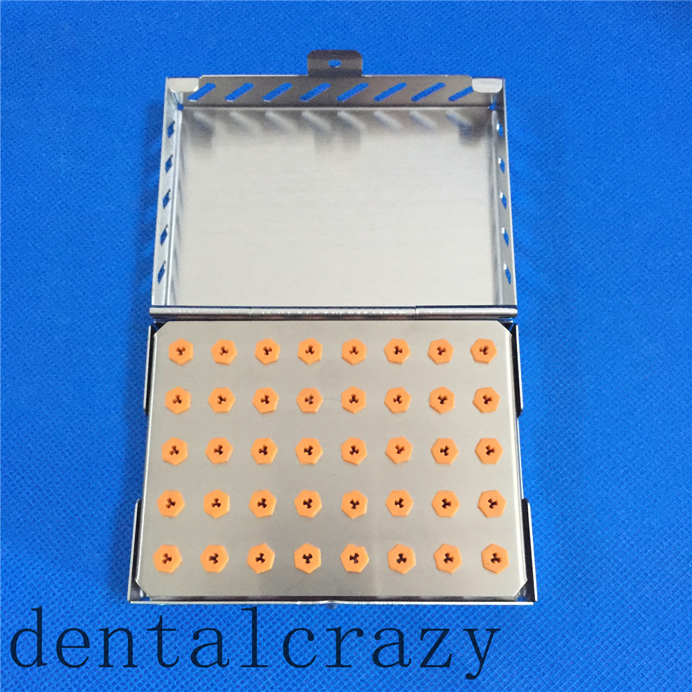 Best Dental Implant Drill Bur 40-Holder Tray with Stainless Case Sterilization new dental implant bur drill tool sterilization cassette kit organizer box tray