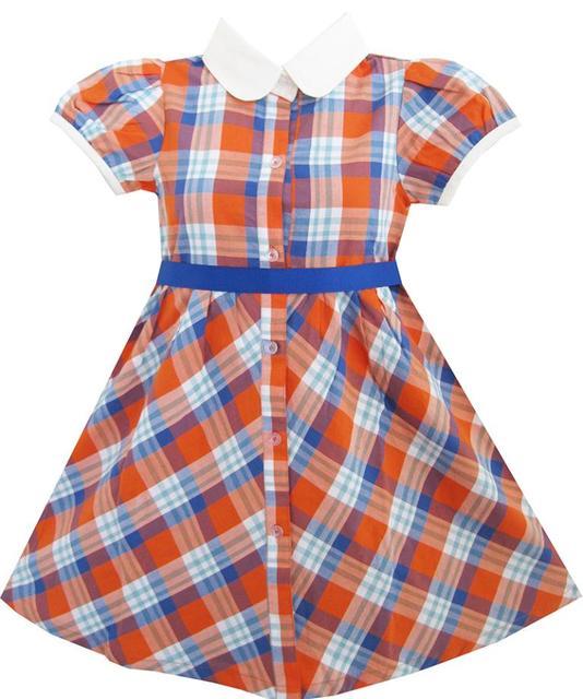 7b4b2853405b Girls Dress White Collar Orange Blue Plaid Checks School Uniform Kids 4-10