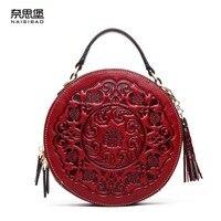 NASIBAO 2019 новая сумка из натуральной кожи сумки с тиснением Топ воловья Сумка тоут стильная женская сумка с кисточками круглая сумка через пле