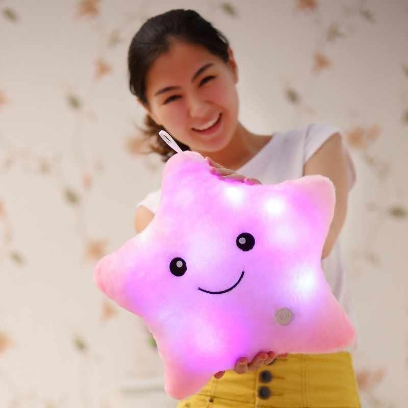 [Новости] 35*38 см светящаяся Подушка елочные игрушки, светодиодная лампа подушка, плюшевые подушки, Горячие красочных звезд, детские игрушки, подарок на день рождения