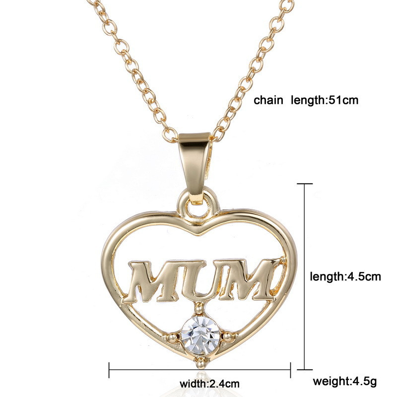 "ZN 2019 Gold Color Love ""Mum"" Crystal Heart Pendant Necklace Mother's Day Gifts for mother Sweater Chain Necklaces Best Gifts 25"