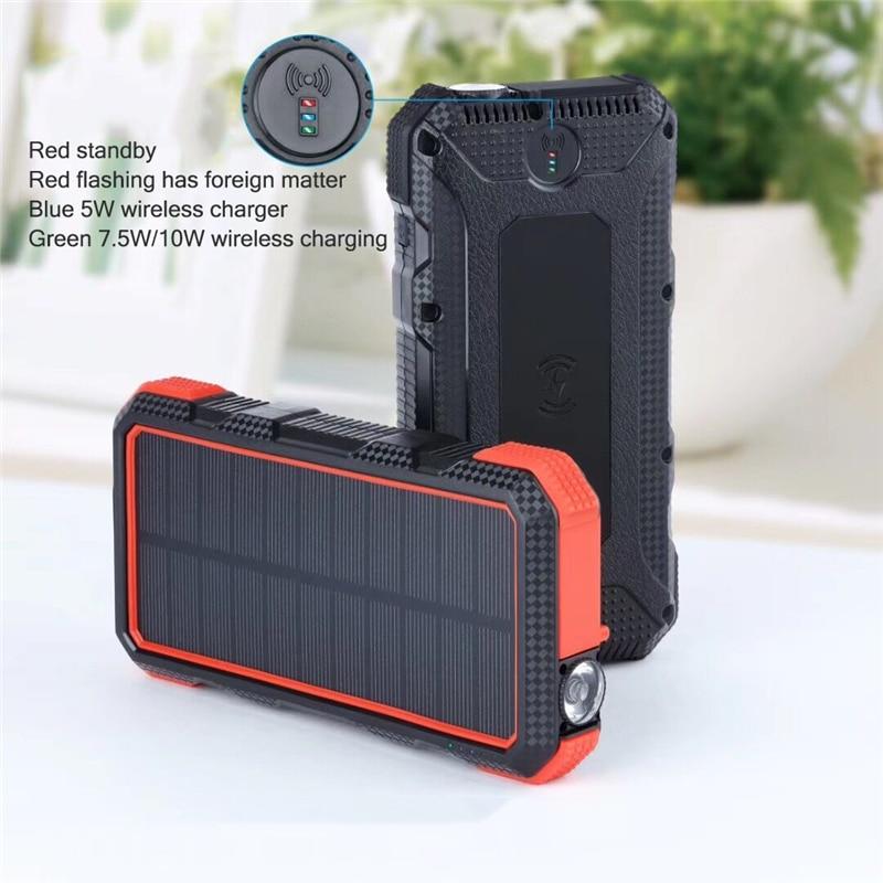 Chargeur sans fil PowerBank 25000 mAh QI batterie de secours solaire pour IPhone Samsung Huawei PD + QC3.0 chargeur rapide batterie externe
