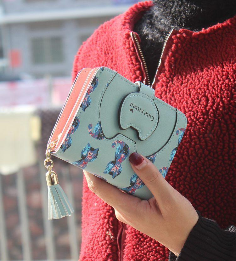 Borla mulheres gato dos desenhos animados impressão PU mulheres de Couro carteira walelt marca projetado moeda titular do cartão bolsa feminina carteira bonito da menina