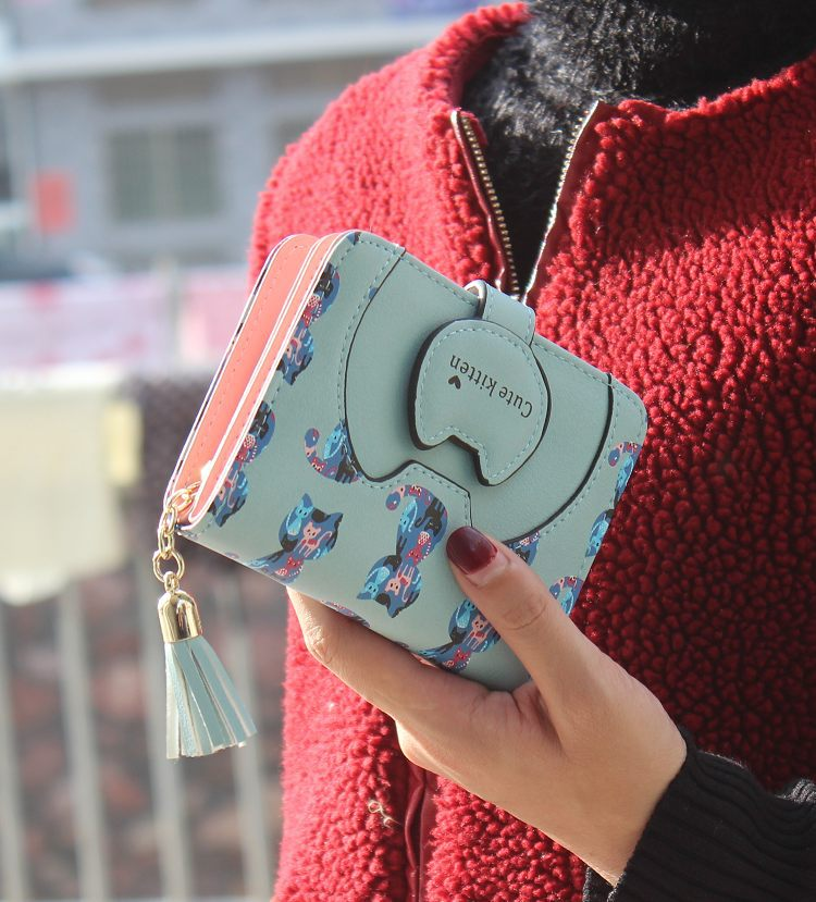 Tassel cartoon cat women wallet printing PU Leather women walelt brand designed coin purse female card holder cute girl wallet