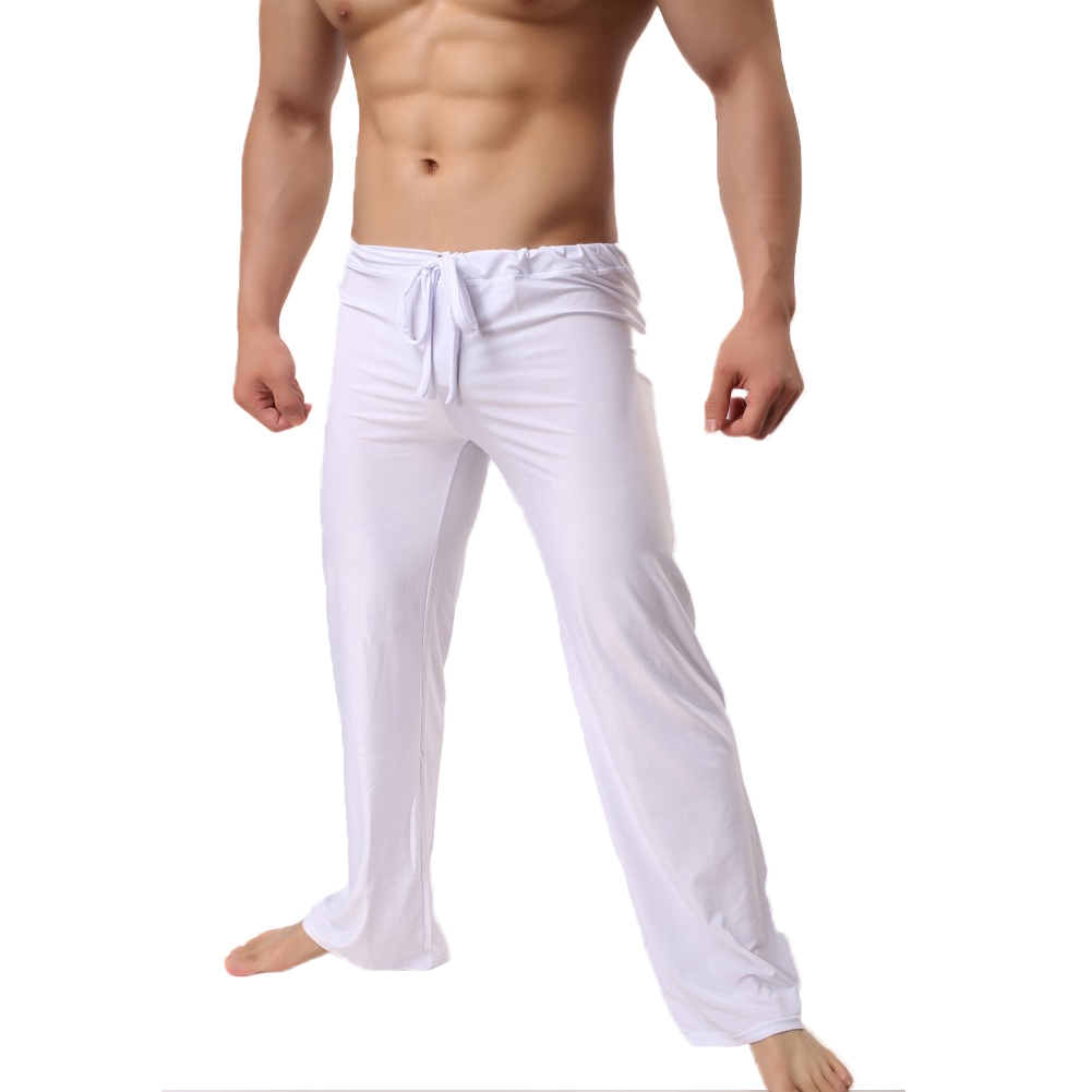 Permalink to YJSFG HOUSE Brand Men's Sleep Bottoms Home Pants Low Waist Fashion Casual Loose Pants Ice Silk Long Trousers Men's Lounge Pant
