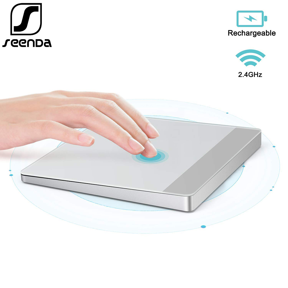 Pavé tactile Rechargeable SeenDa 2.4 Ghz sans fil pour ordinateur portable tablette tactile PC pour Windows Mac OS argent