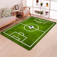 3D Living Room Carpets Football Print Kids Play Rug Mat Family Games Flannel Memory Foam Green Floor Area Rugs for Boys Bedroom