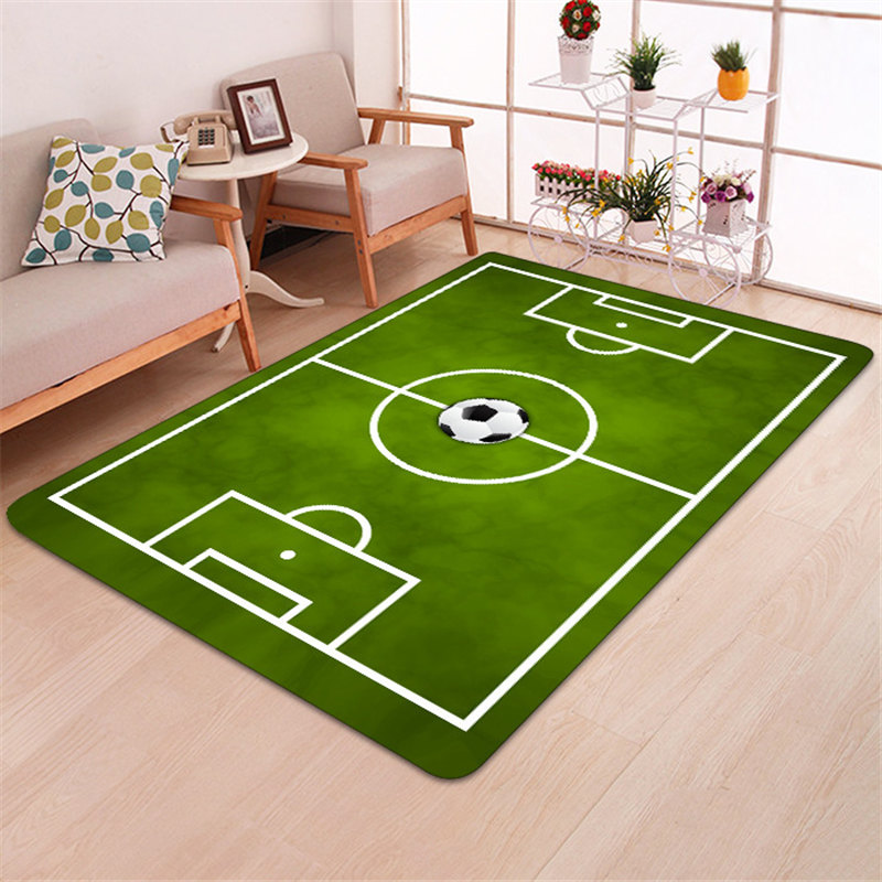 Modern Carpet 3D Football Area Rugs Flannel Rug Memory Foam Carpet Boys Kids Play Crawl Mat Big Carpets for Home Living Room