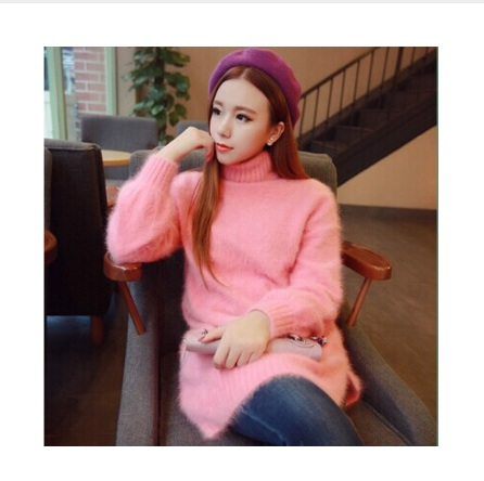 New genuine mink cashmere sweater women long cashmere pullovers knitted pure mink jacket Customized color free shipping   M4