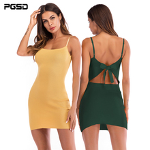 PGSD Simple fashion Pure color Women Clothes Sandy beach sexy Backless bowknot Bottomed knitted Sling Dress Night party female