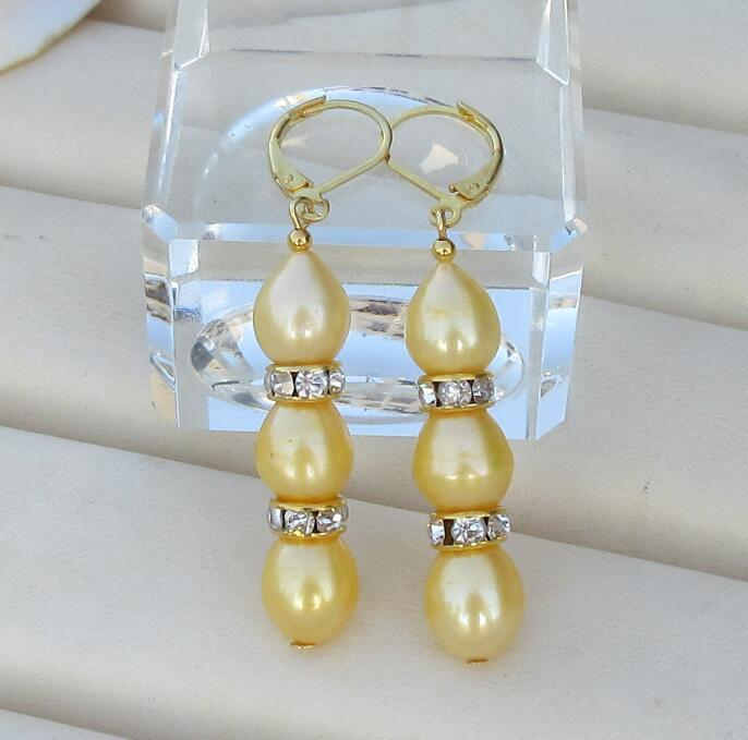 Charming AAA 9-11 mm south sea lavender purple baroque pearl earrings 14k Gold