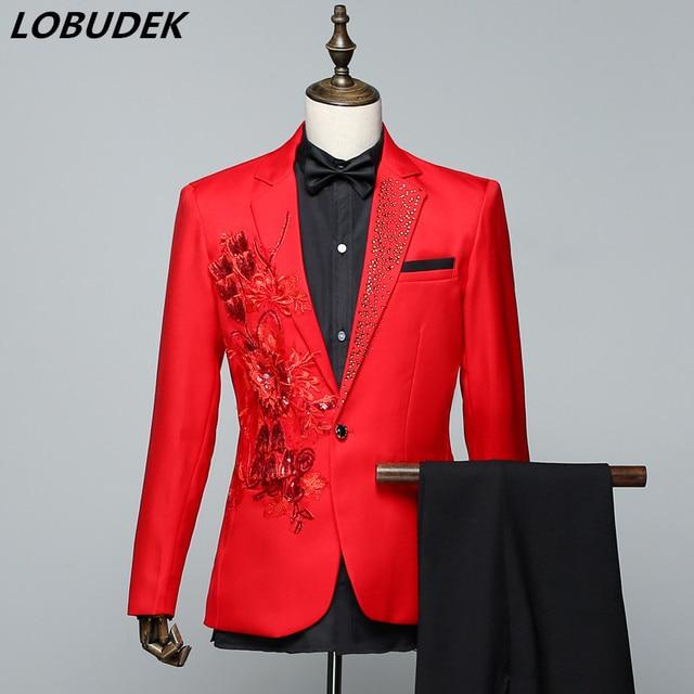 Sparkly Crystals Men s Suits Red White Sequins Applique Blazers Coat Male  Singer Choral Dress Prom Host Wedding Studio Slim Suit 1f2d26f62230