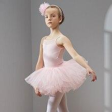 Vestido de Ballet y danza para niñas y niños, tutú de tul de manga corta de alta calidad