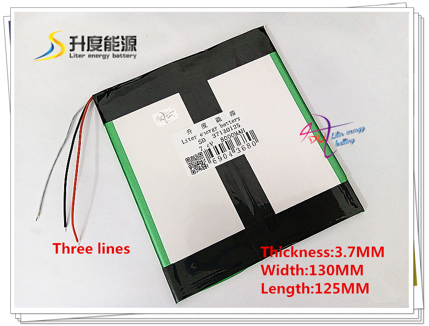 3 line 37130125 7.4V 8000mAH Li-ion battery for M6,M6Pro ,M6Pro 3G ,Freelander PD800 Tablet PC, 37125130