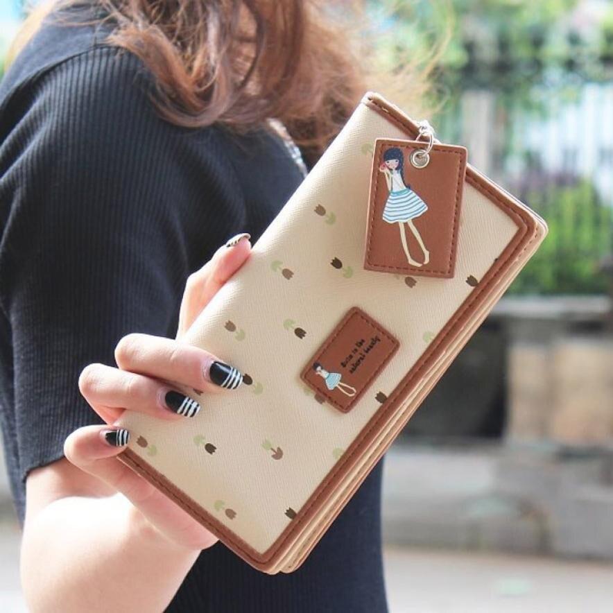 New Fashion Lady Cute Wallet Women Long Purse Clutch Wallet Zip Bag Card Holder Long Design Purse Two Fold More Color Clutch