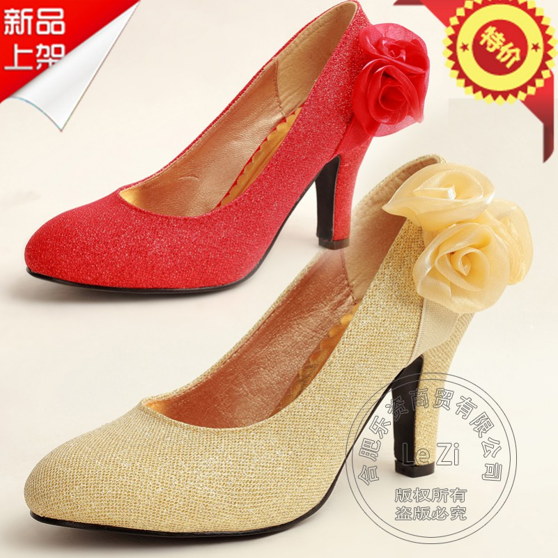 Bridesmaid Grace Best Seller Gold Trendy New Arrival Floral Thin High Heels Heel Female The Wedding