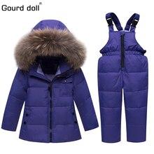 41babf06e Trajes de invierno para niños niñas 2018 niños traje de esquí niños ropa  conjunto bebé pato abajo chaqueta abrigo + monos cálido.