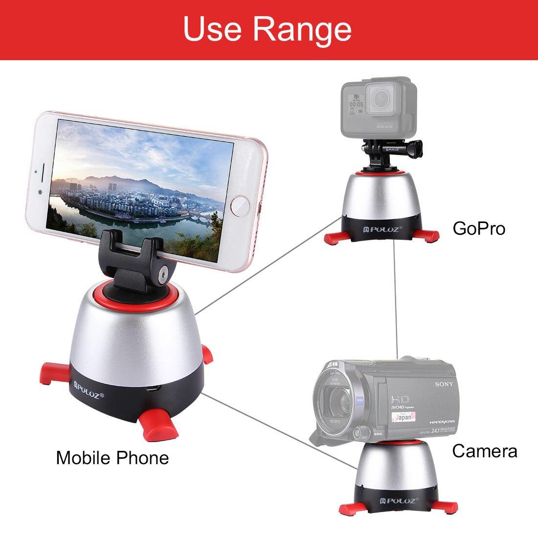 360 Degree Rotating Mini Electric Panorama Tripod Head with Phone Clip for Smartphones Gopro SJCAM Pocket SLR Camera