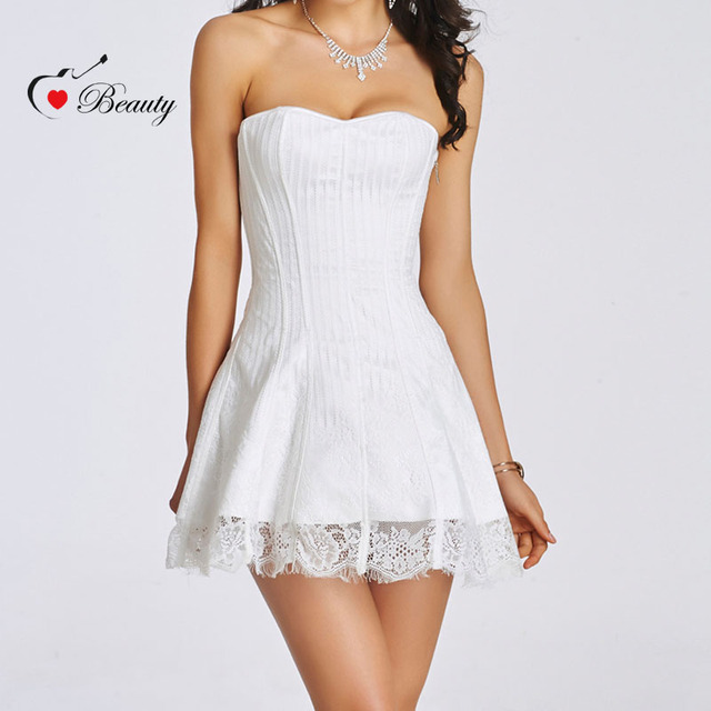 7f73c51f3b90 Venta caliente Shapers Negro Blanco Rojo vestido de Noche de Encaje Sexy  Corsé de Las Mujeres y Empuja Hacia Arriba El Vestido de Corsé Gótico  Bustier ...