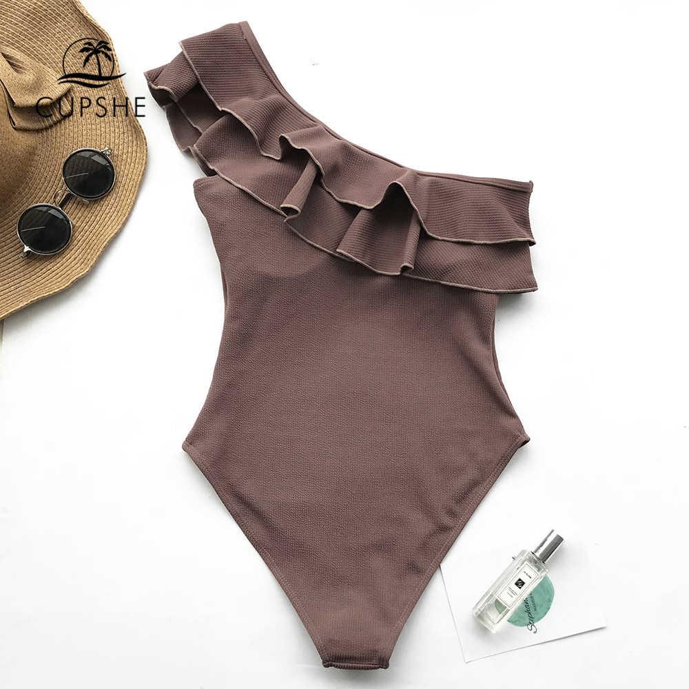 CUPSHE Falbala maillot de bain une pièce femmes marron à volants une épaule Monokini 2020 fille solide plage maillot de bain maillots de bain