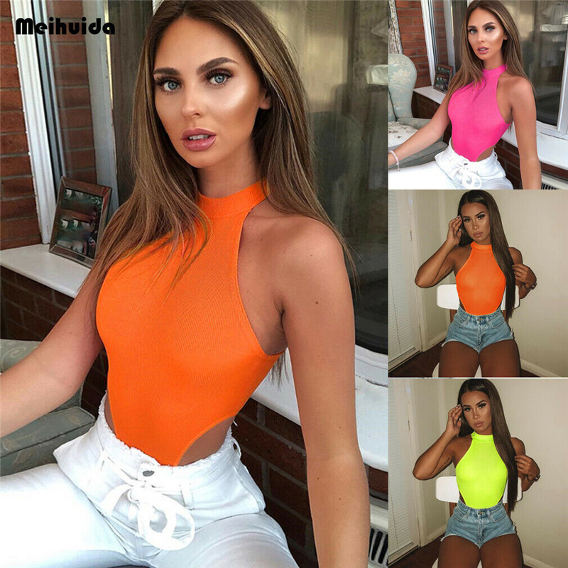 Women Bodycon Slim Fitness Workout Sleeveless Clubwear Rompers Jumpsuits Off Shoulder Halter Solid Summer Bodysuit Outwear Tops