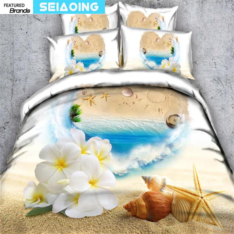 vivid flower beach bedclothes 3d girl boys single twin queen full cal king size bedding set 3/4pc duvet/quilt covers pillow sham