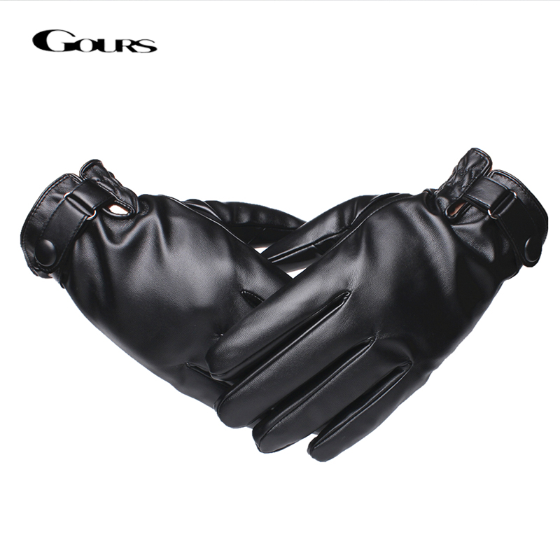 Gours Leather Gloves for Men Fashion Brand Male Black Touch Screen PU Leather Finger Gloves Warm In Winter New Arrival GSM040