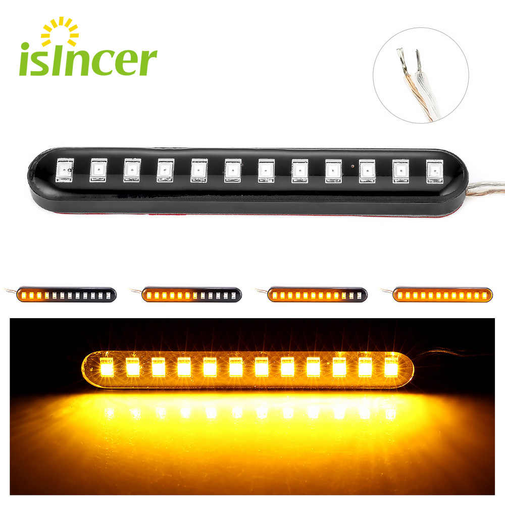 1 pc Stromend Water Motorfiets Richtingaanwijzer Strip Licht IP68 BlinkerTail Remlichten 12LED Kentekenverlichting Stop Richtingaanwijzers
