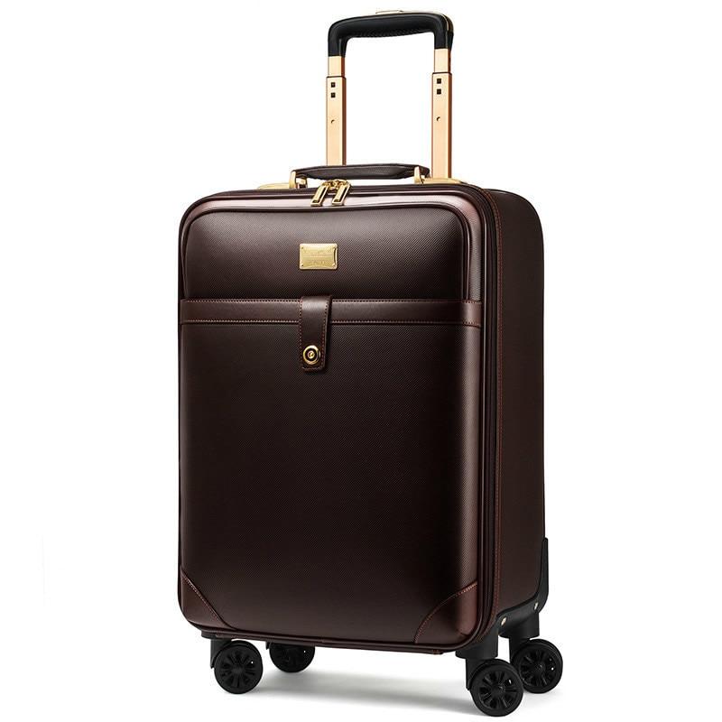 цена на Luxury Men Women 's Travel Luggage Suitcase ,Waterproof PVC leather Box with Wheel ,16202224 inch Rolling Trolley case