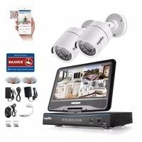 SANNCE 10 LCD Monitor 4CH DVR 720P CCTV Security System 2pcs 1 0MP 1200TVL IR Outdoor