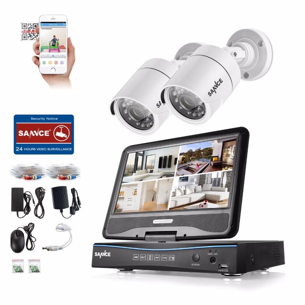SANNCE 10 LCD Moniteur 4CH DVR 720 P CCTV Système de Sécurité 2 pcs 1.0MP 1200TVL IR Extérieure Caméra de Sécurité vidéo Surveillance kits