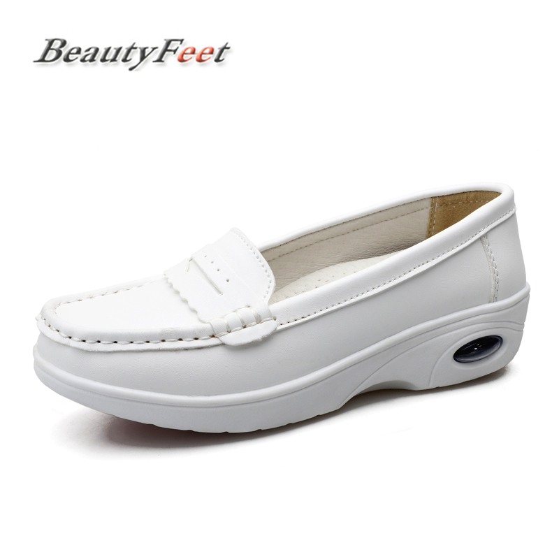 Women Nurse Flats Shoes Genuine Leather Slip on Plus Size Ladies Round Toe White Loafers Flat Women Sneakers Creepers BeautyFeet