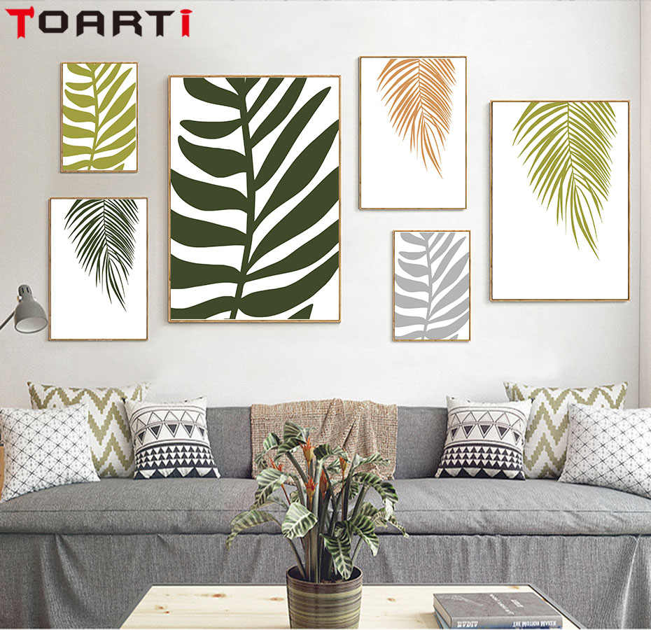 Tropical Palm Frond Canvas Art Painting Modern Plant Poster Prints Green Plant Wall Picture For Living Room Nordic Home Decor