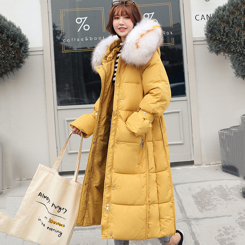 2019 New Arrival Women Winter Jacket With Thicken Fur Hooded Warm Female Long   Parka   Padded Coat High Quality