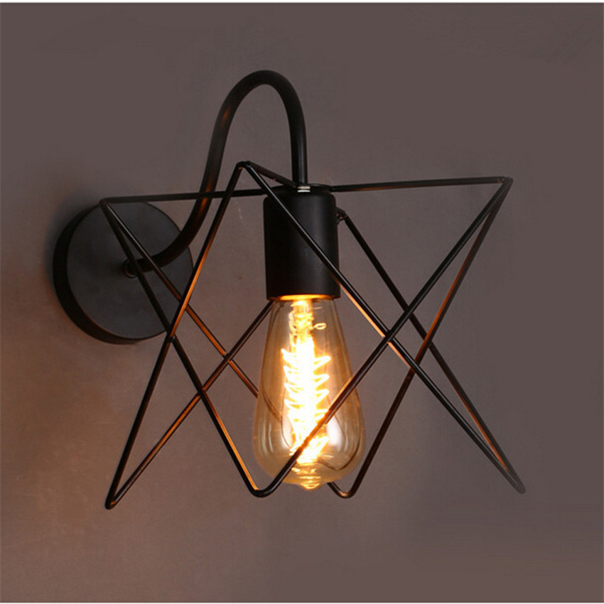 buy modern retro loft wall lamps black iron metal triangle cage lampshade wall. Black Bedroom Furniture Sets. Home Design Ideas