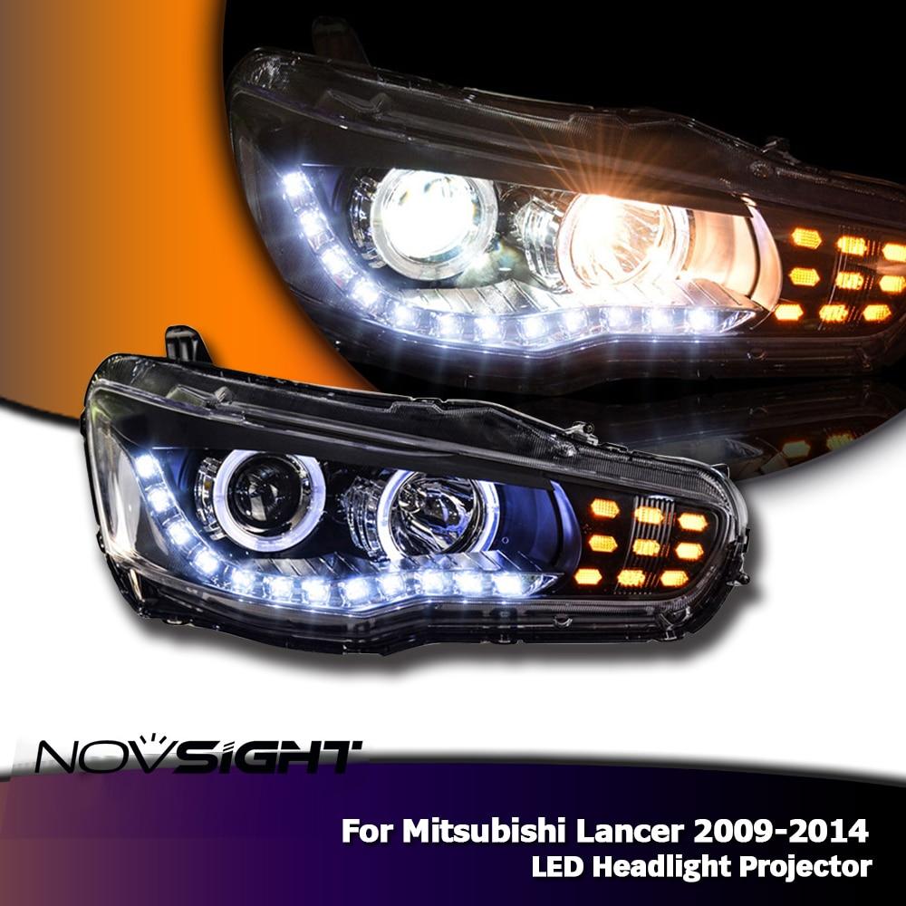NOVSIGHT 2X Car LED Headlight Assembly Projector Angel Eye DRL Day Light For Mitsubishi Lancer 2009-14 hireno headlamp for mercedes benz w163 ml320 ml280 ml350 ml430 headlight assembly led drl angel lens double beam hid xenon 2pcs