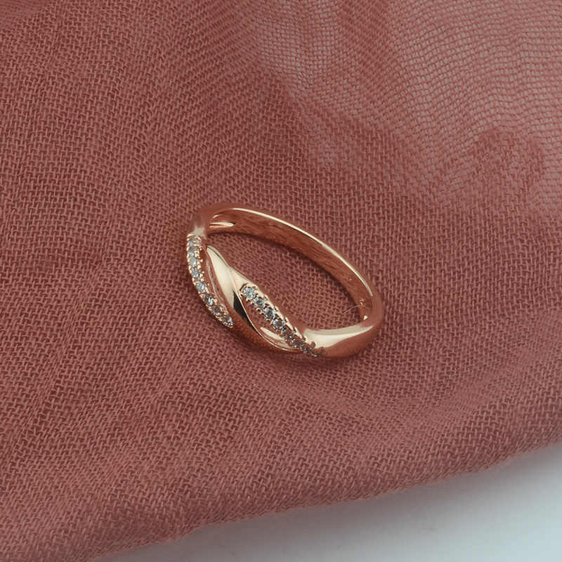 FJ 5.5mm Women Weaving Twisted Cubic Zircon 585 Rose Gold Color Wedding Rings