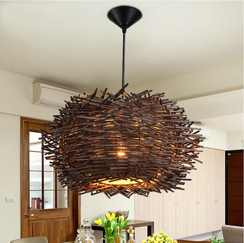 Novelty Nordic Lamp Creative Wood pendant Lights 220v E27 Nest Bird Cage Lamp With Incandescent Bulbs For Light Home
