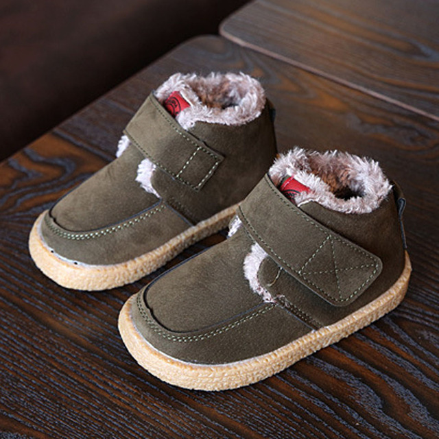 2017 Winter Plush Lining Children Boots Ankle Strap Boys Snow Boots Kids Warm Shoes Unisex