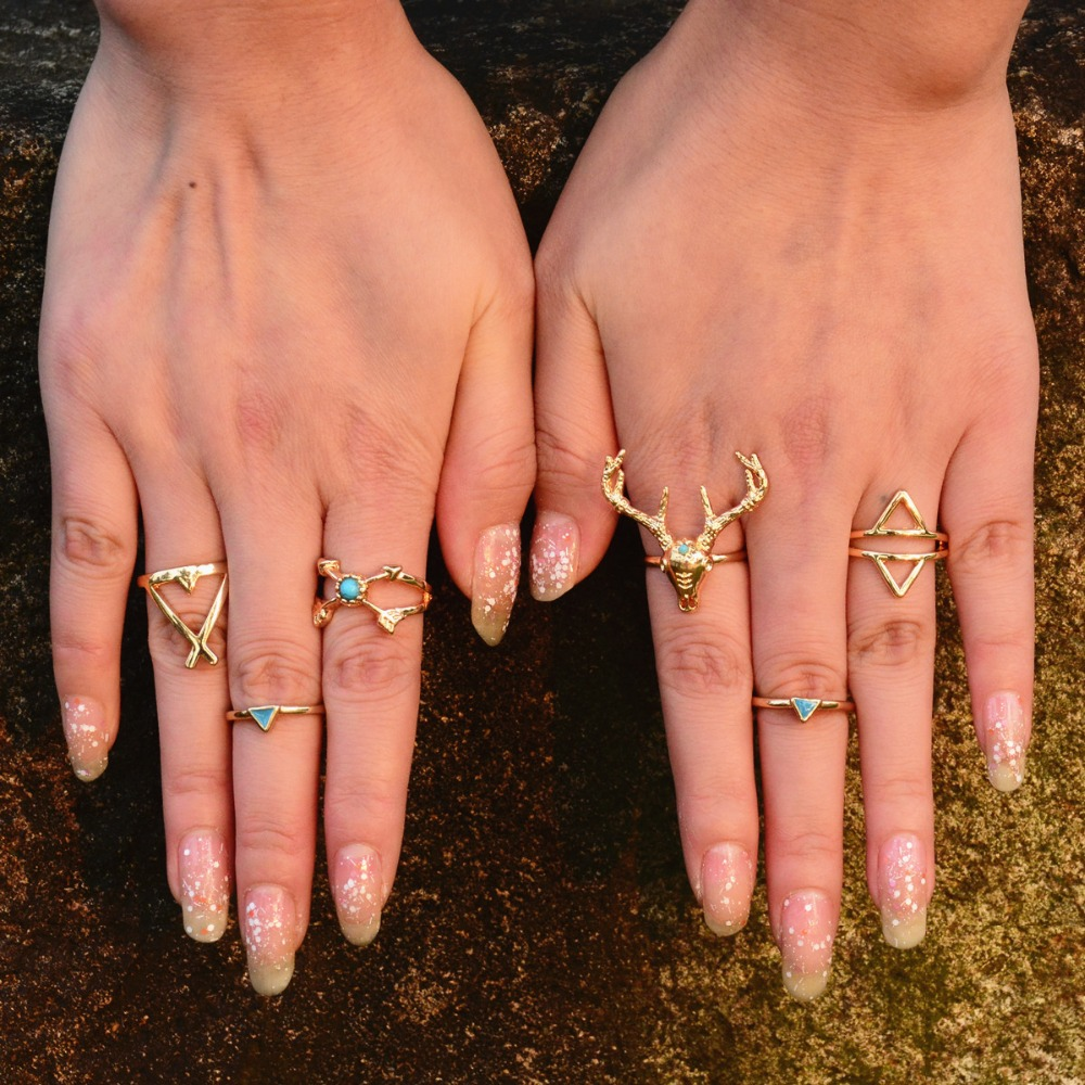U-shine Fashion Store 6 Pieces /Set Women Bohemian Ring set VintageVintage Anti Silver Rings Moosehead Arrows  Lucky Rings Set for Women Party