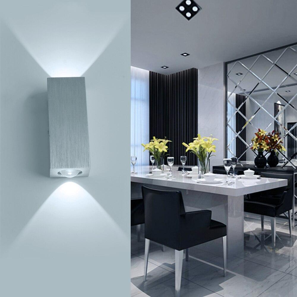 Led mur lampe spot light 2 w 6 w carré aluminm matériel s maison décoration ampoule
