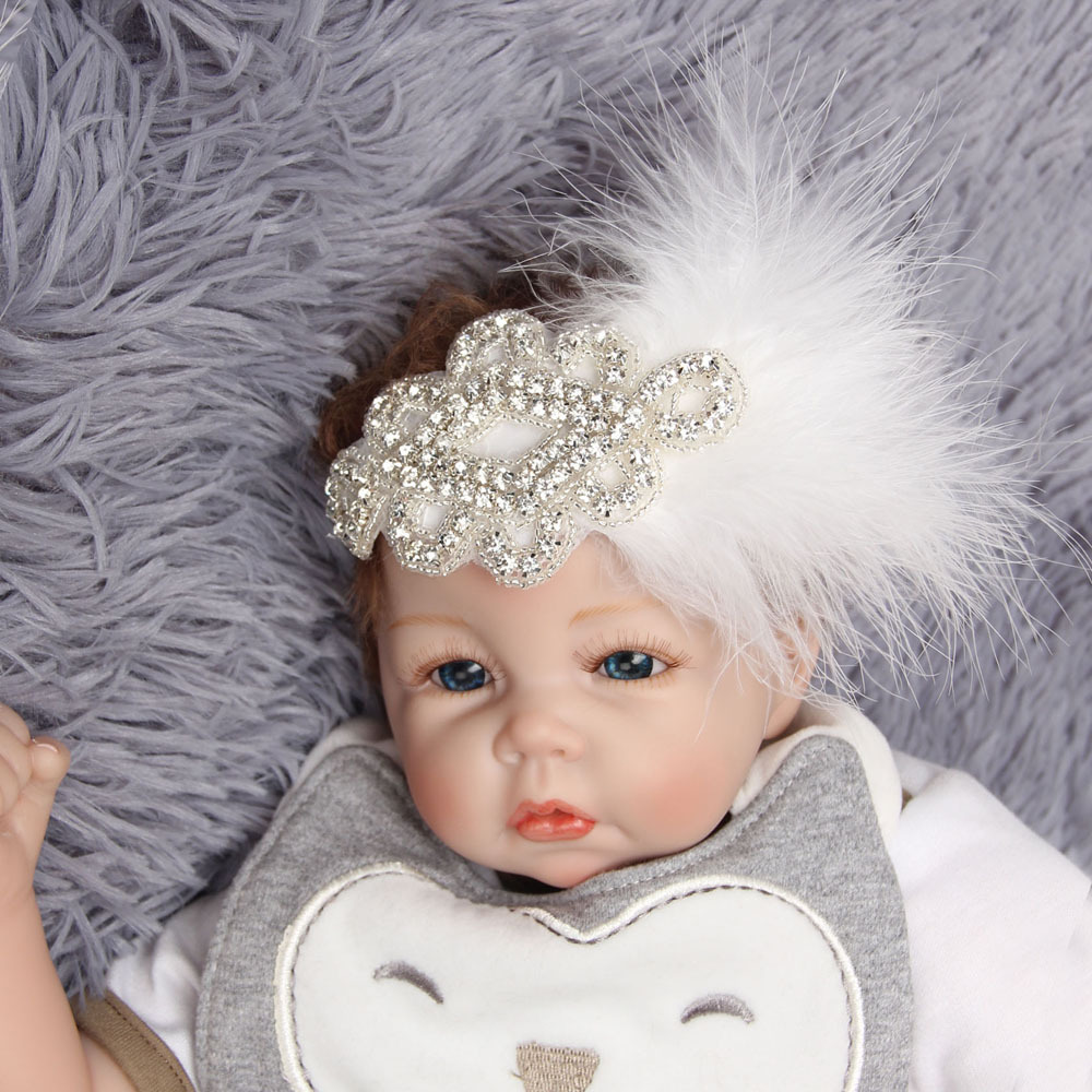 Chic Rhinestone Feather Headband White Headband Christening Baptism Headband Girls Hair Accessories Vintage Inspired Flapper metting joura vintage bohemian green mixed color flower satin cross ethnic fabric elastic turban headband hair accessories