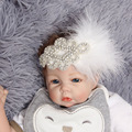 Vintage Rhinestone Feather Headband White Baby Headband Christening Baptism Headband Hair Accessories Vintage Inspired Flapper