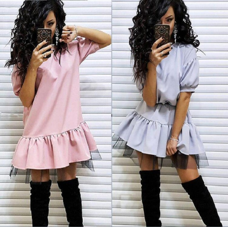 Women Vintage Lace Patchwork Sashes A-line Dress Short Sleeve O Neck Casual Mini Party Dress 2019 Summer Office Lady Women Dress