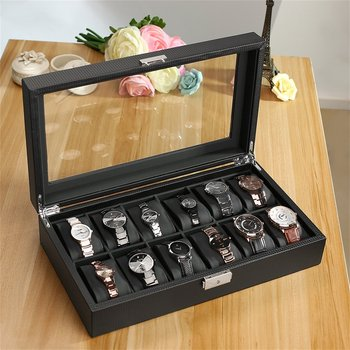 Outad Kulit Buatan 12 Slot Serat Karbon Desain Perhiasan Tampilan Watch Kotak Penyimpanan Pemegang Jamnya Hitam Besar Bermutu Tinggi Saat kutusu