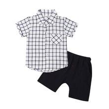 2Pcs Toddler Kids Boys Clothes Plaid Shirt Short Sleeve Tops Pants Outfits Set 2019